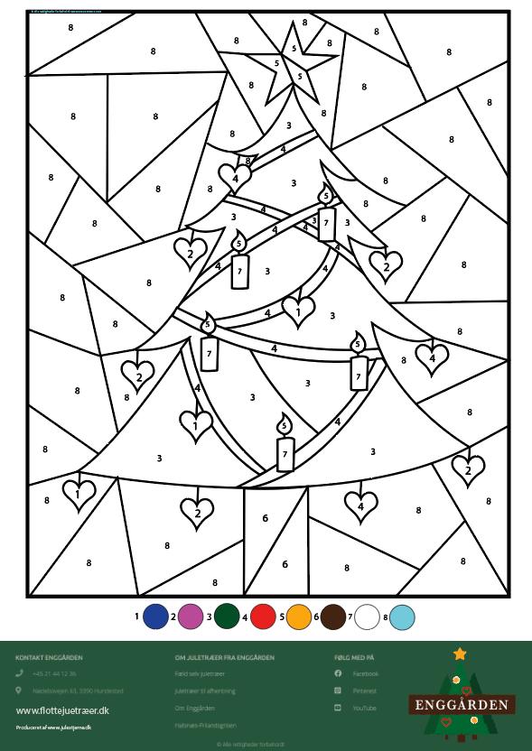Julemalebogs side til at farve efter nummer